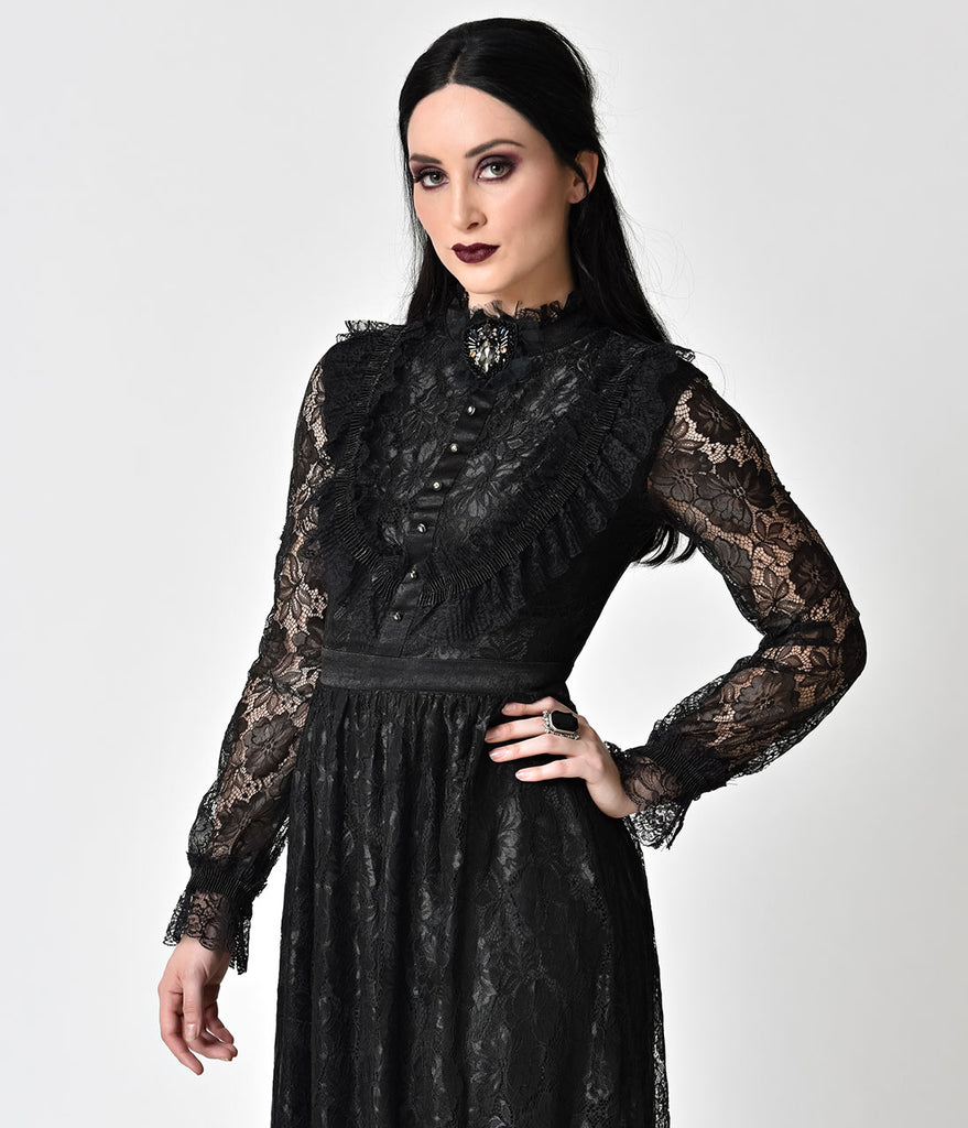 Victorian Style Black Lace Long Sleeve Maxi Dress – Unique Vintage