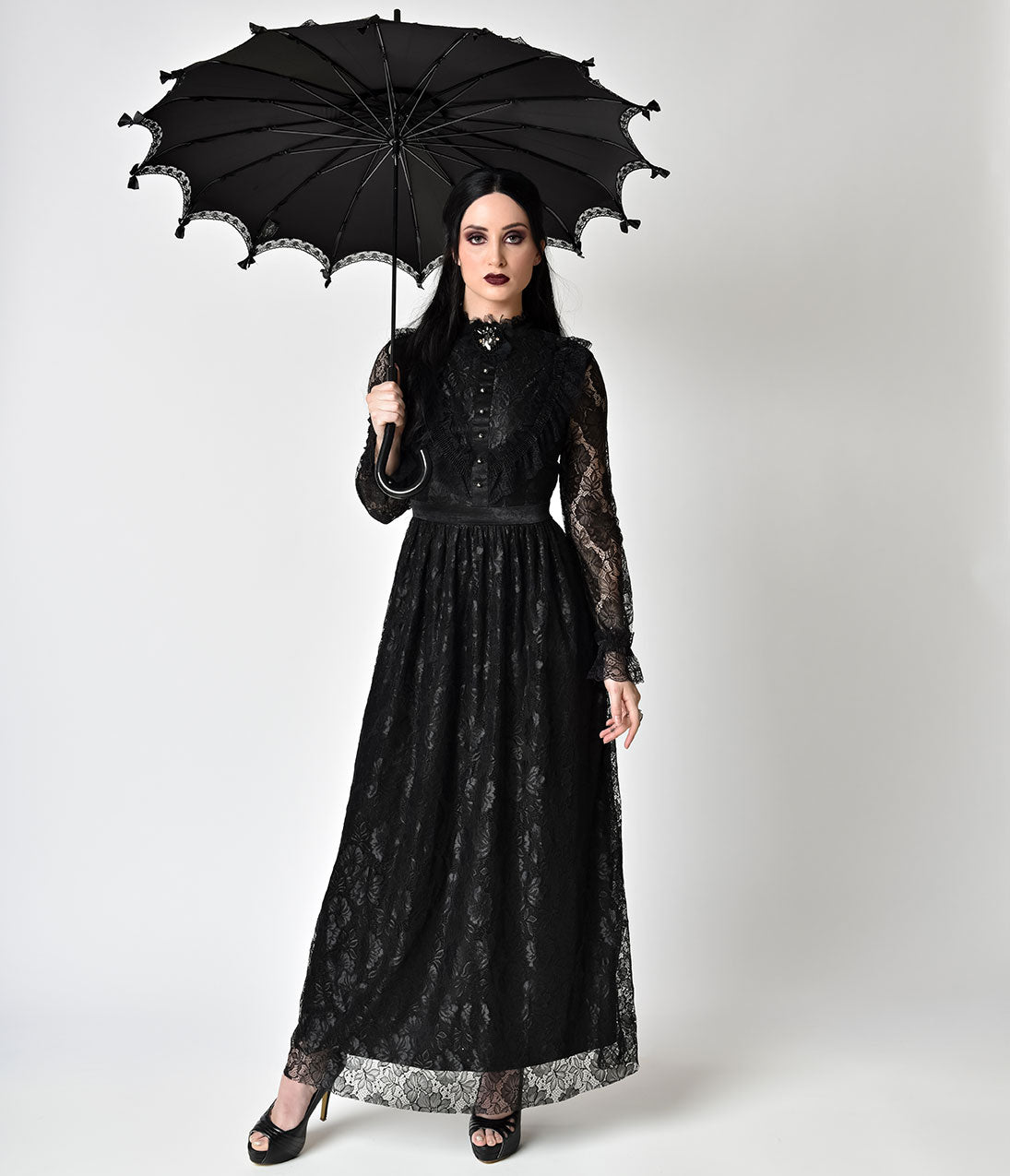 Victorian Costumes: Dresses, Saloon Girls, Southern Belle, Witch Victorian Style Black Lace Long Sleeve Maxi Dress $60.00 AT vintagedancer.com