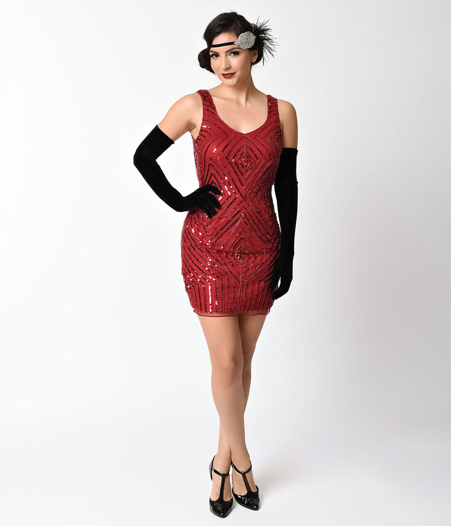 8b9c6e997c Vintage 1920s Style Burgundy Red Sequin   Beaded Sleeveless Flapper Dr –  Unique Vintage