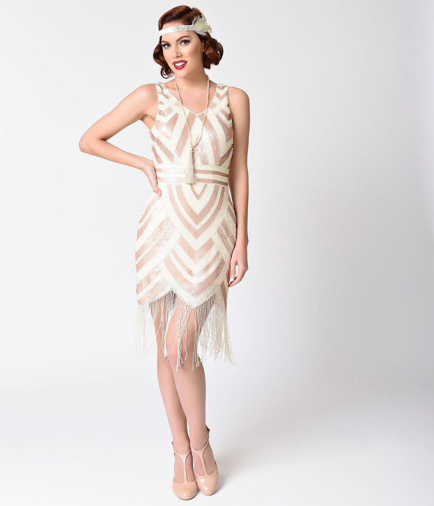 Vintage 1920s Style Ivory & Gold Sequin Deco Fringe Flapper Dress