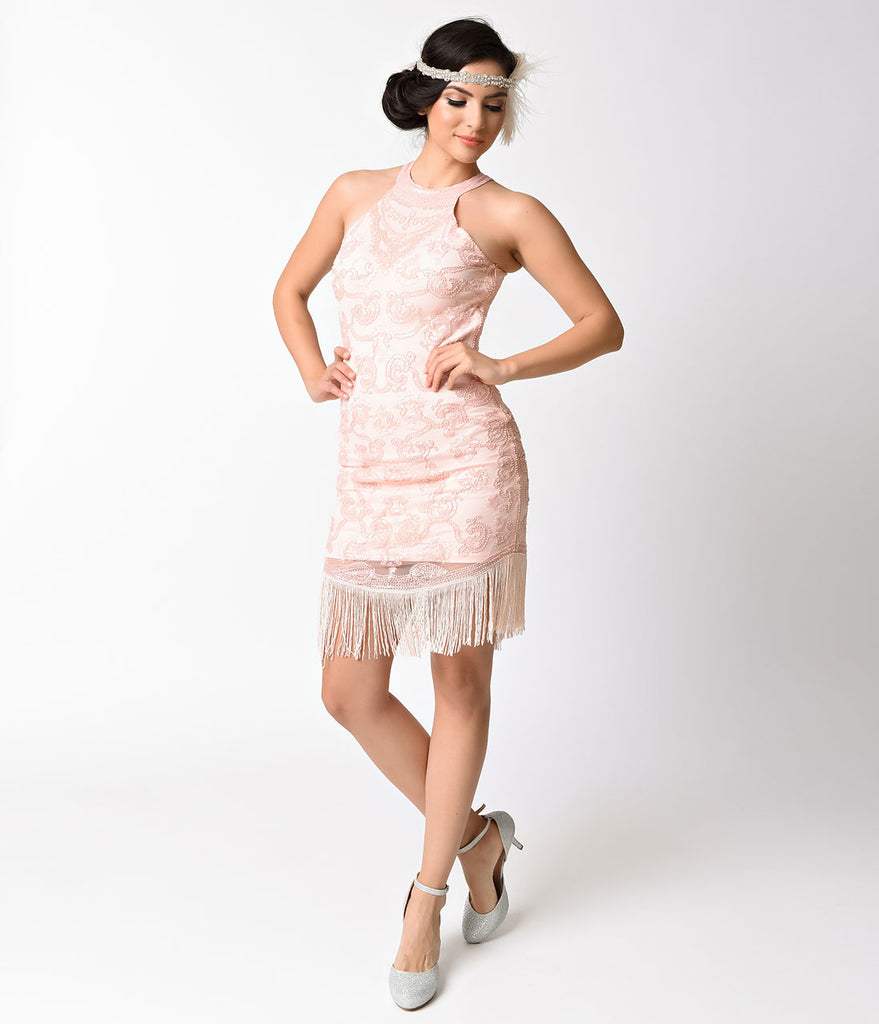 Vintage 1920s Style Pink Beaded Deco High Halter Flapper Dress