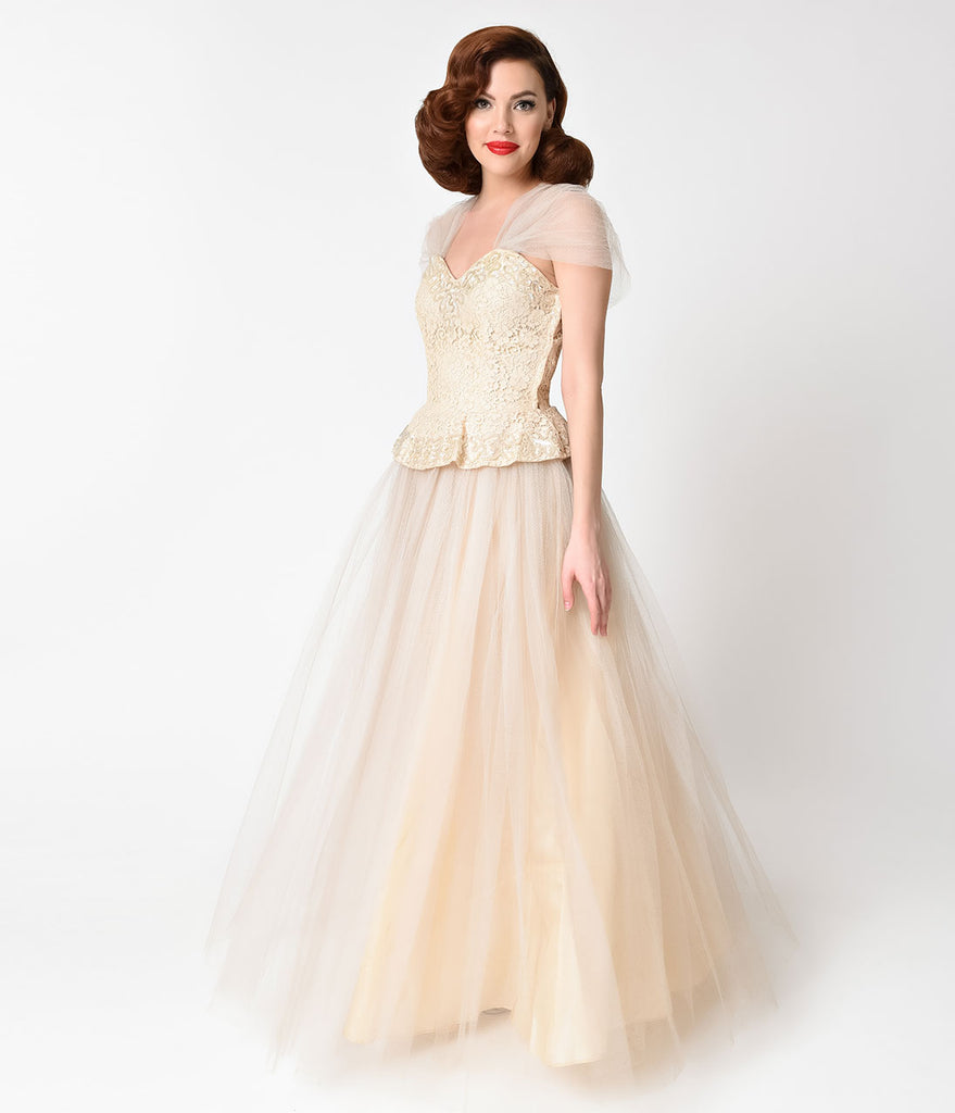 Vintage 1950s Cream Lace & Tulle Peplum Long Gown