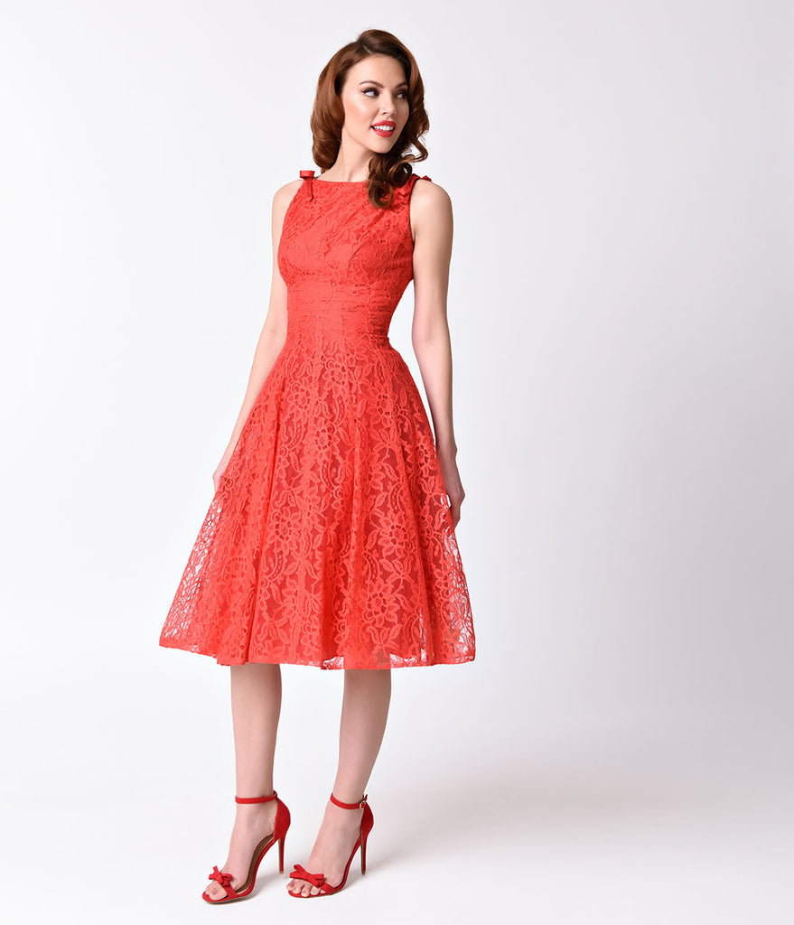 Vintage 1950s Red Lace Sleeveless Swing Dress – Unique Vintage