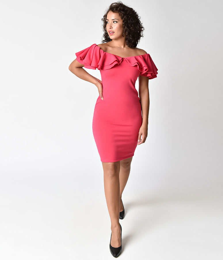 Vintage 1950s Style Hot Pink Ruffled Off Shoulder Wiggle Dress