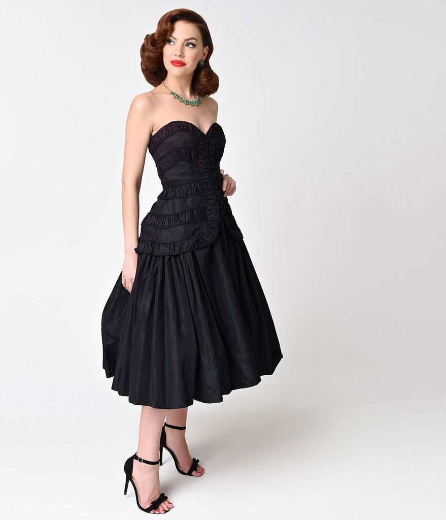 Black Strapless Sweetheart Dress