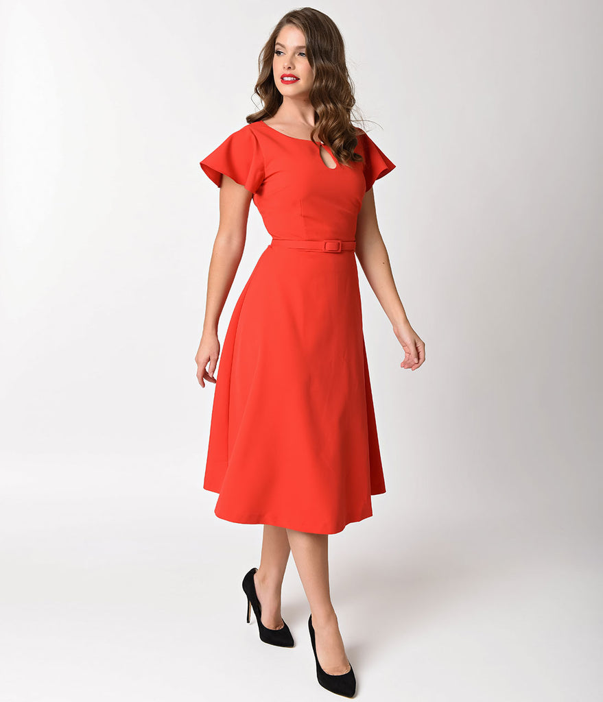 Vintage Diva 1940s Style Red Stretch Cap Sleeve Cherie Swing Dress