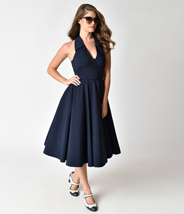 Vintage Diva 1950s Style Navy Collared Rose Halter Swing Dress
