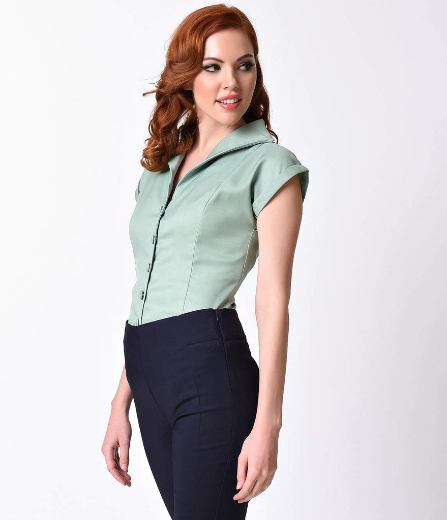 Banned Vintage Style Antique Green Button Up Cap Sleeve Blouse