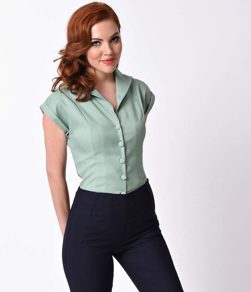 Banned Vintage Style Antique Green Button Up Cap Sleeve