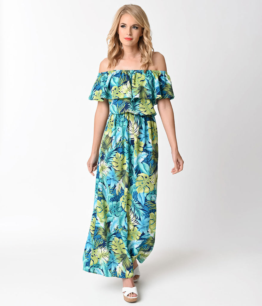 Vintage Style Aqua & Green Tropical Foliage Off Shoulder Maxi Dress