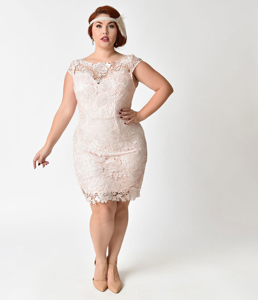 Vintage Style Plus Size Ash Rose Pink Lace Cap Sleeve Wiggle Dress