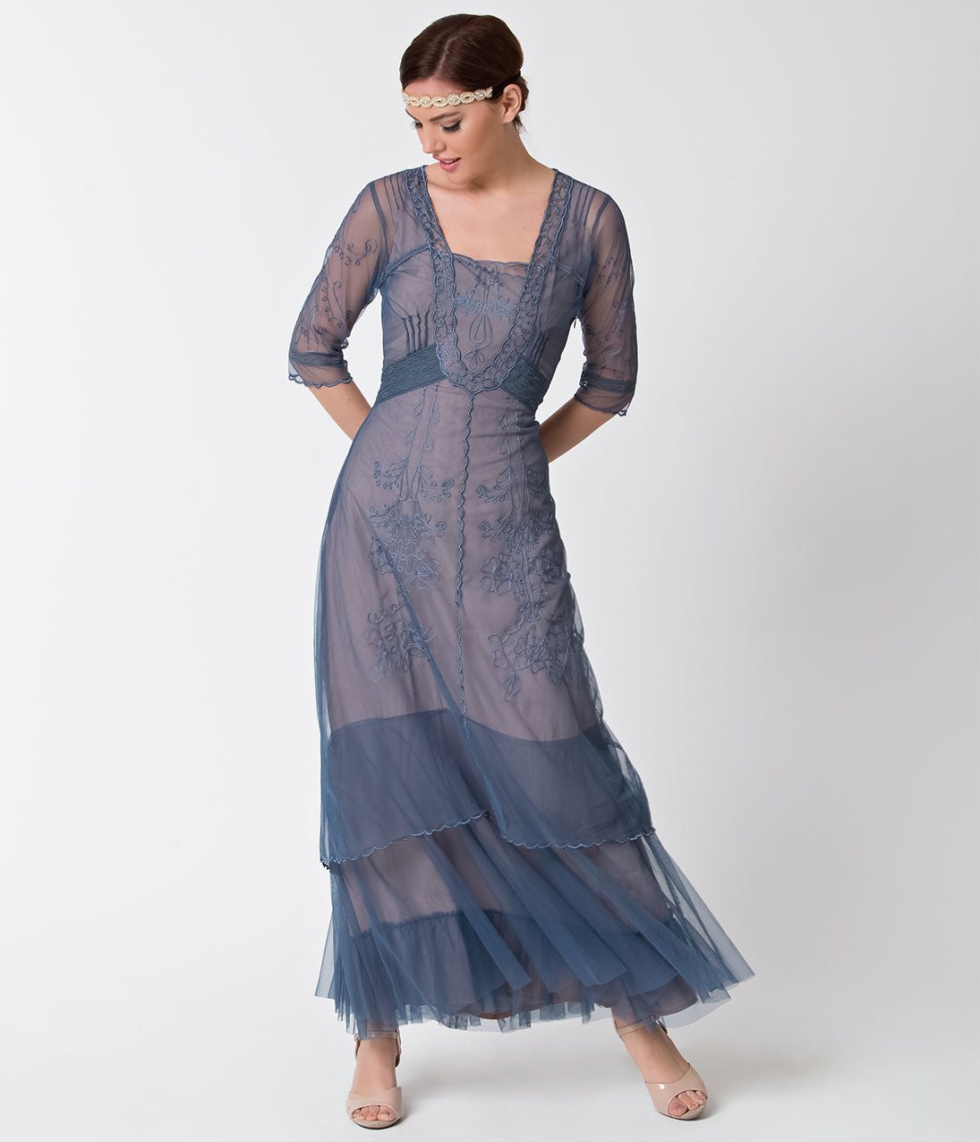 Victorian Costumes: Dresses, Saloon Girls, Southern Belle, Witch Vintage Style Azure Blue  Tan Half Sleeve Mesh Edwardian Flapper Dress $182.00 AT vintagedancer.com