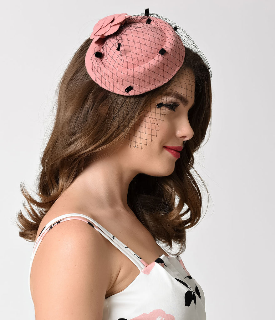 Vintage Style Baby Pink Flocked Netted Fascinator Hat