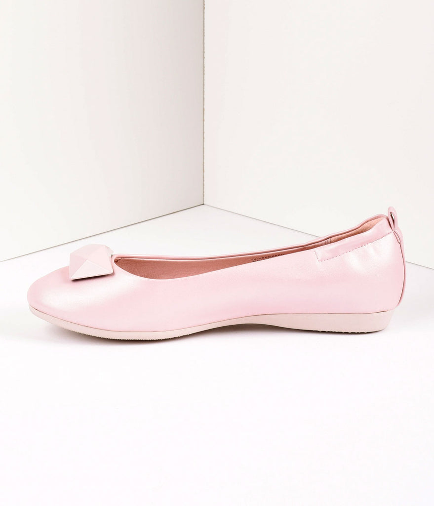 Vintage Style Baby Pink Leatherette & Geometric Gem Ballet Flats