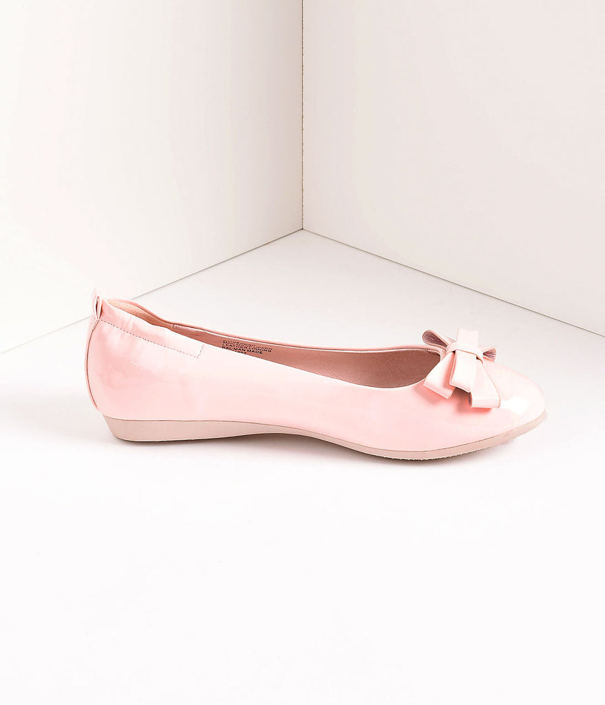 Vintage Style Baby Pink Patent Leatherette Bow Ballet Flats