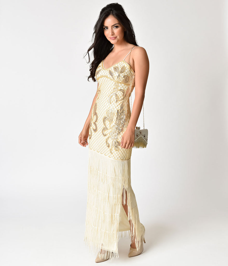 Vintage Style Beige & Gold Beaded Sexy Fringe Long Cocktail Dress