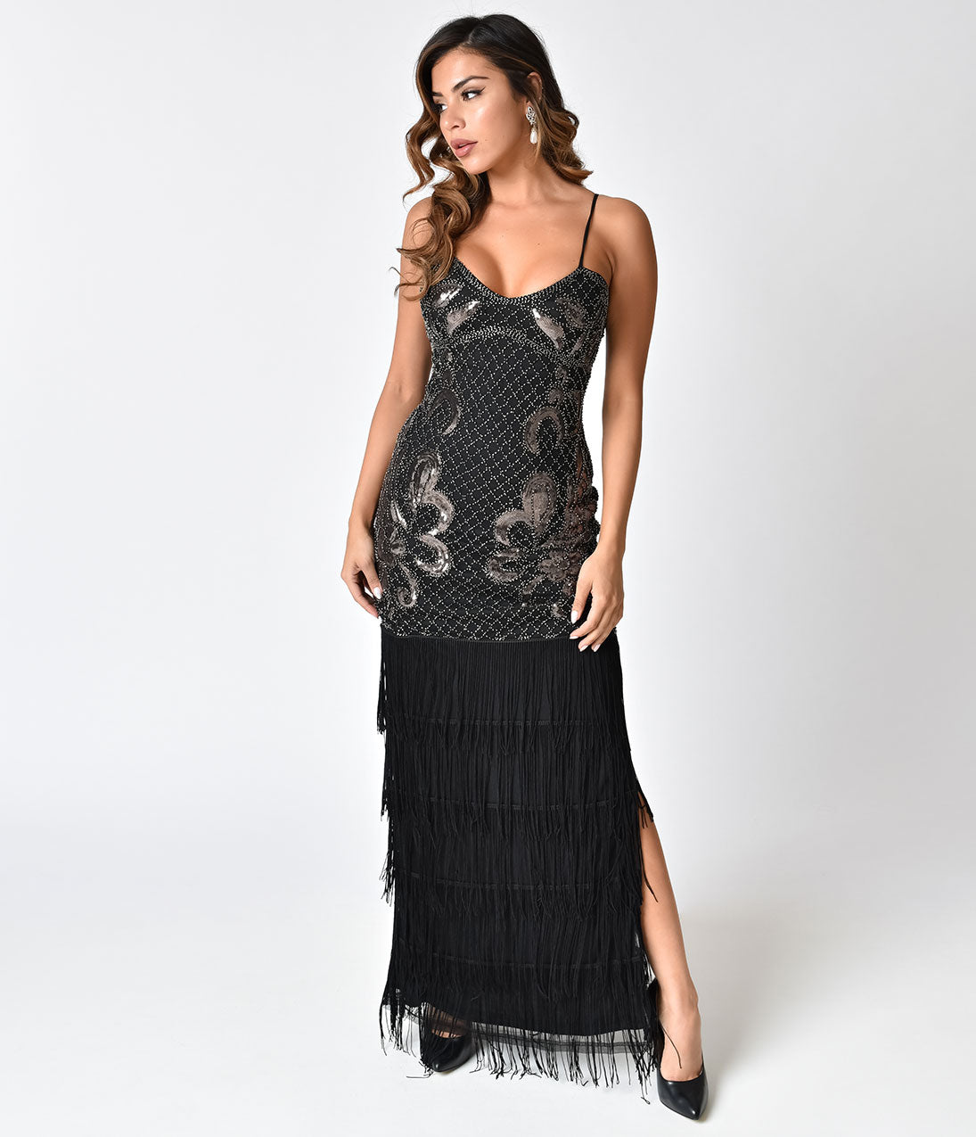 1930s Evening Dresses | Old Hollywood Dress Vintage Style Black Beaded Sexy Fringe Long Cocktail Dress $91.00 AT vintagedancer.com