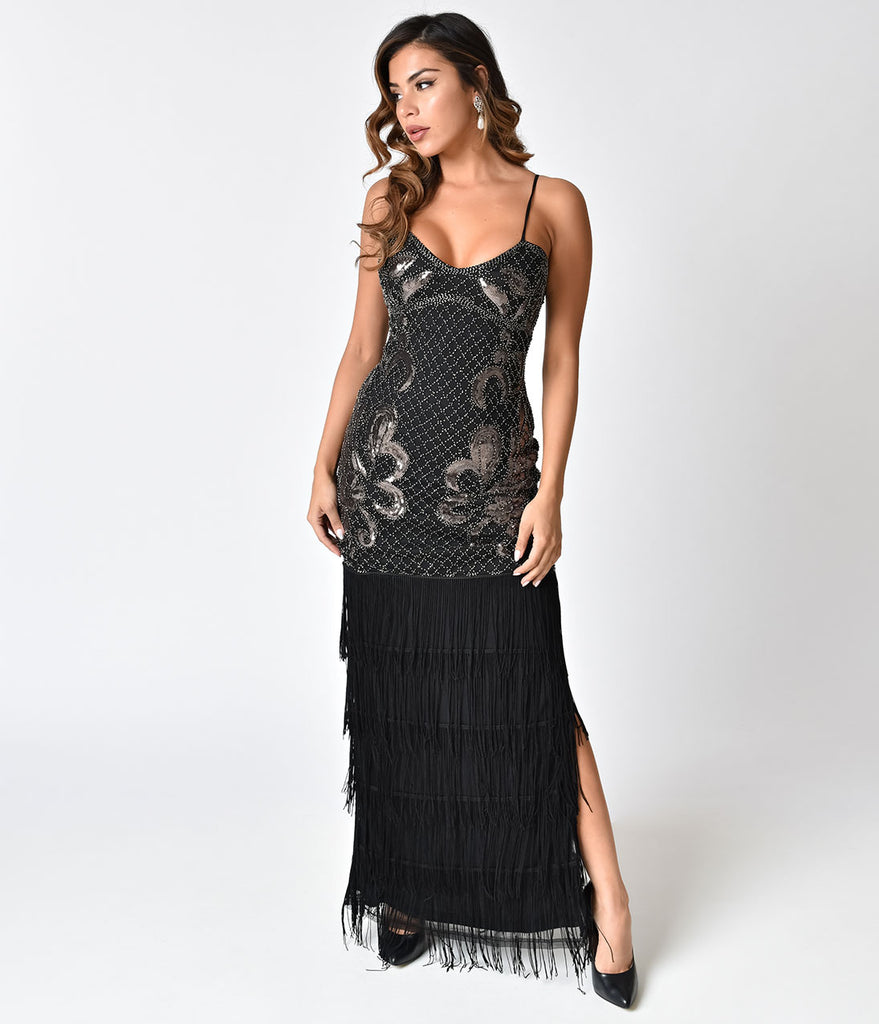 Vintage Style Black Beaded Sexy Fringe Long Cocktail Dress