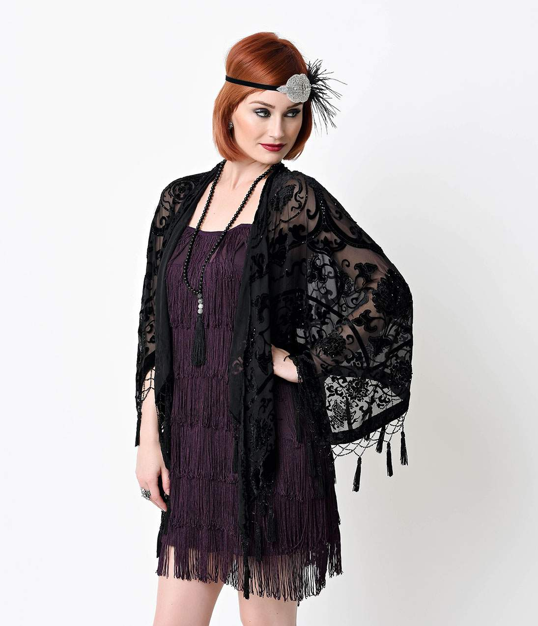 1920s Style Shawls, Wraps, Scarves Vintage Style Black Deco Burnout Beaded Velvet Scarf Coat $108.00 AT vintagedancer.com