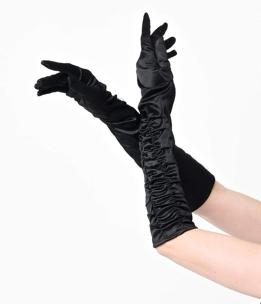 Vintage Style Black Elbow Length Ruched Opera Gloves