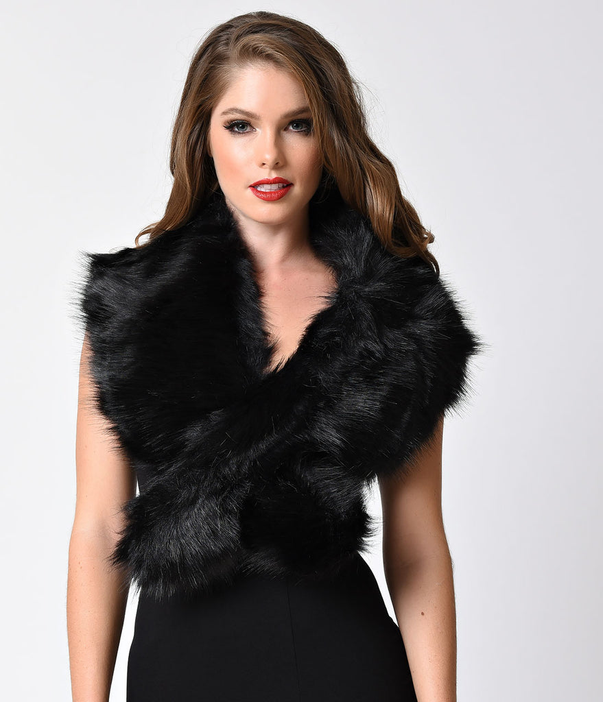 Vintage Style Black Faux Fur Shoulder Stole