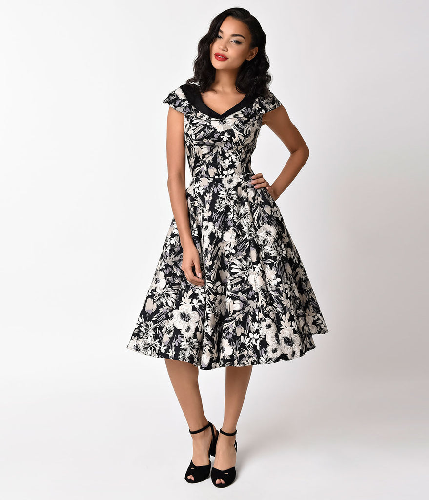 Vintage Style Black & Grey Florals Cap Sleeve Imogen Swing Dress