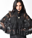 Vintage Style Black Lace Double Layer Lolita Cloak