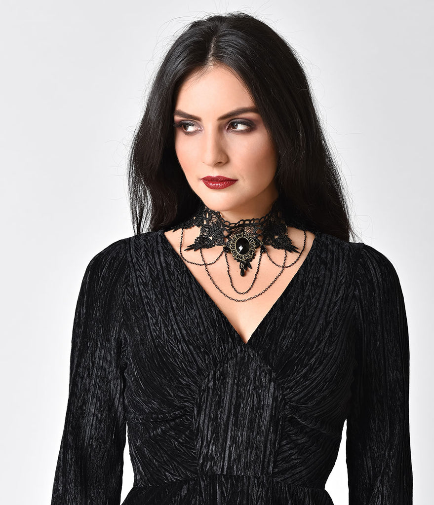 Vintage Style Black Lace & Gem Statement Choker