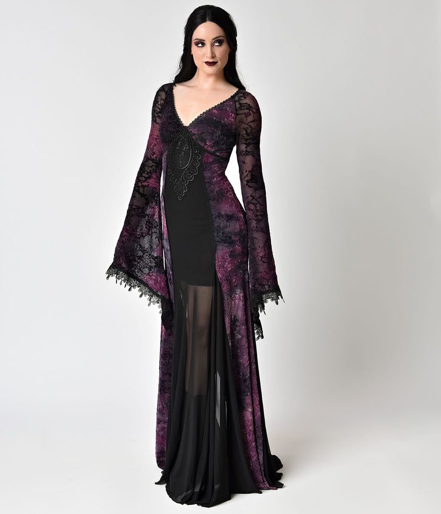 Vintage Style Black Lace & Purple Velvet Long Sleeve Gown – Unique ...