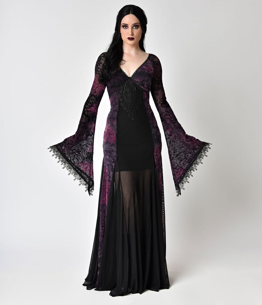 Vintage style black lace purple velvet long sleeve gown for Velvet and lace wedding dresses