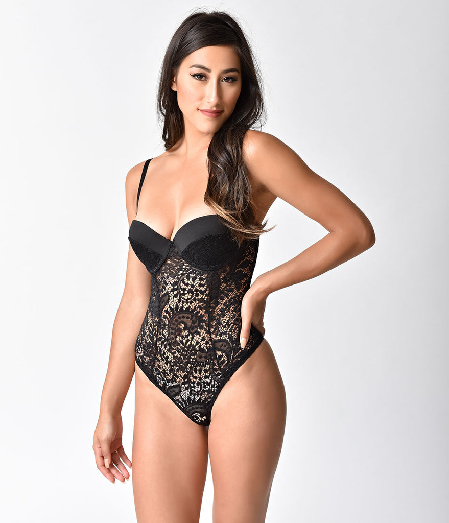 2588a331a3 ... Vintage Style Black Lace Push Up Cup Monroe Teddy
