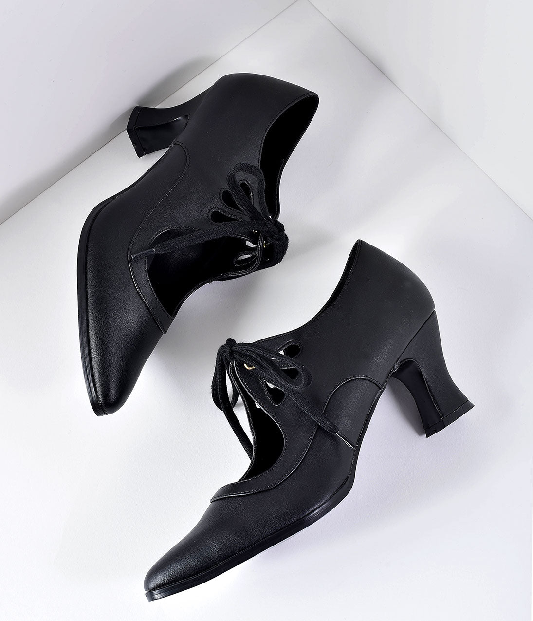 Edwardian Shoes & Boots | Titanic Shoes Vintage Style Black Leatherette Bow Tie Pointed Toe Heels $54.00 AT vintagedancer.com