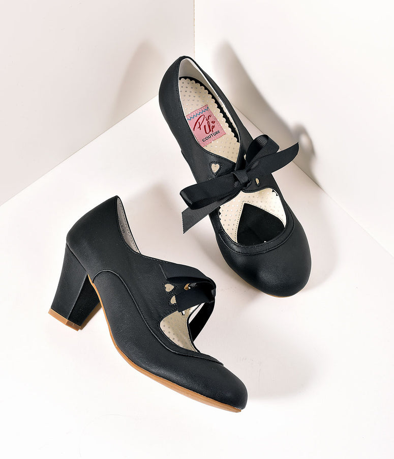 Vintage Style Black Leatherette Mary Jane Bow Wiggle Heels