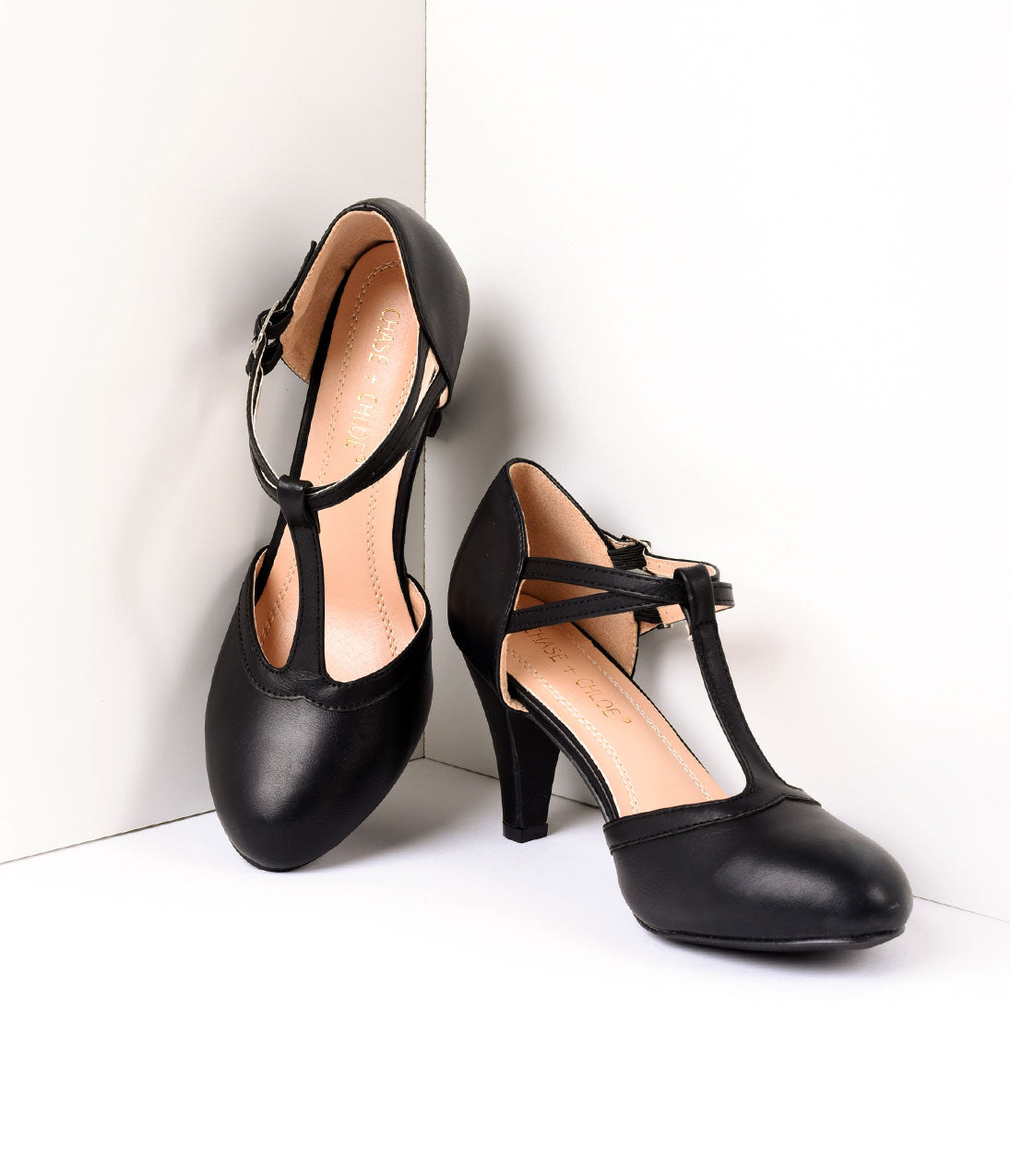 Vintage Style Shoes, Vintage Inspired Shoes Vintage Style Black Leatherette Round Toe T-Strap Heels $48.00 AT vintagedancer.com