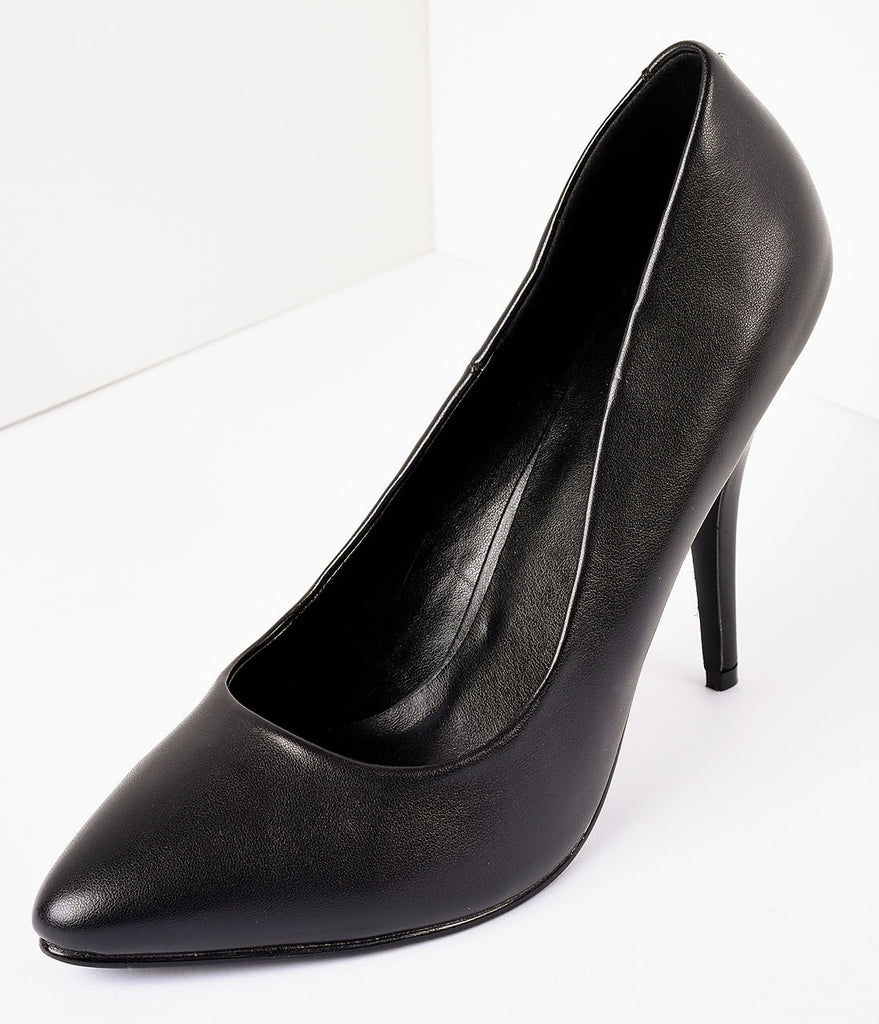Vintage Style Black Leatherette Seduce Pumps