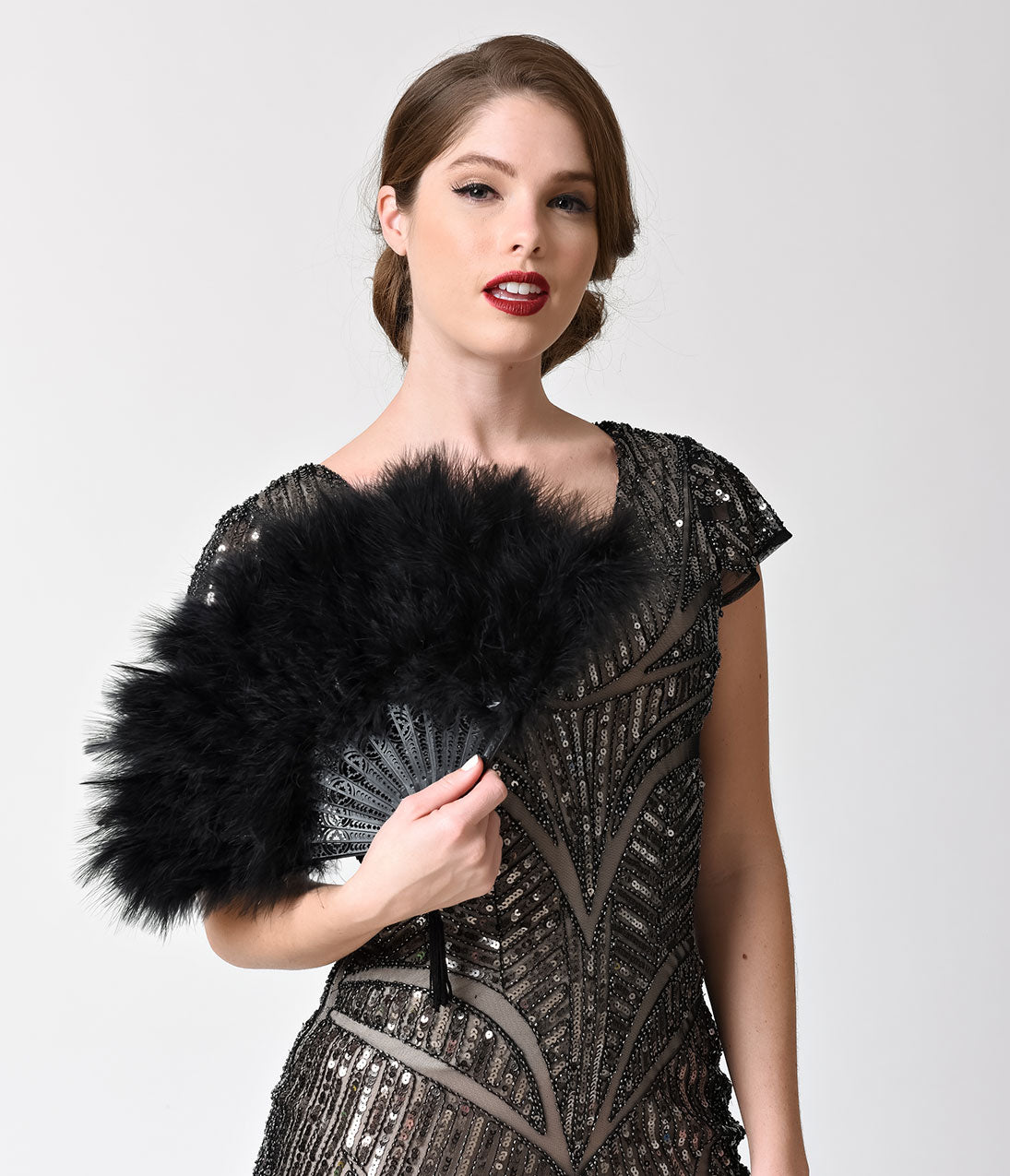 1920s Swimsuits- Women & Mens- History, Sew and Shop Vintage Style Black Marabou Feather Fan $18.00 AT vintagedancer.com