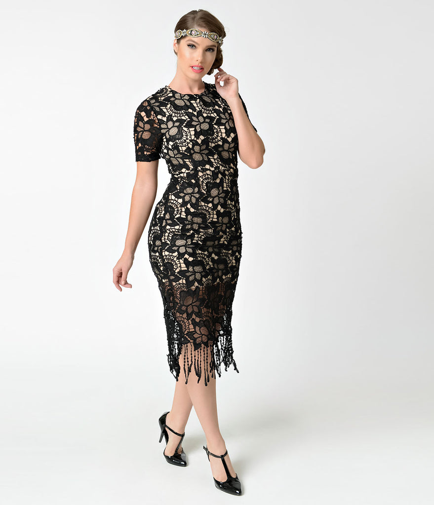 Vintage Style Black & Nude Crochet Lace Short Sleeve Flapper Dress