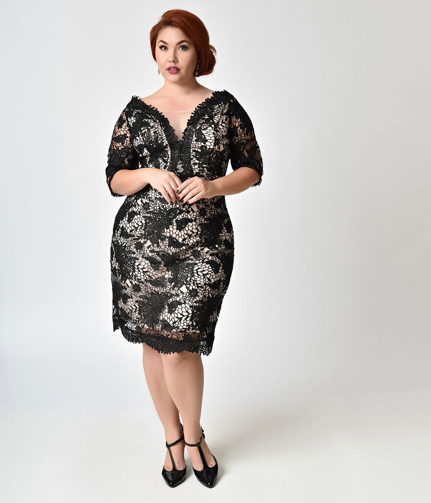Vintage Style Plus Size Black & Nude Lace Cocktail Dress – Unique ...