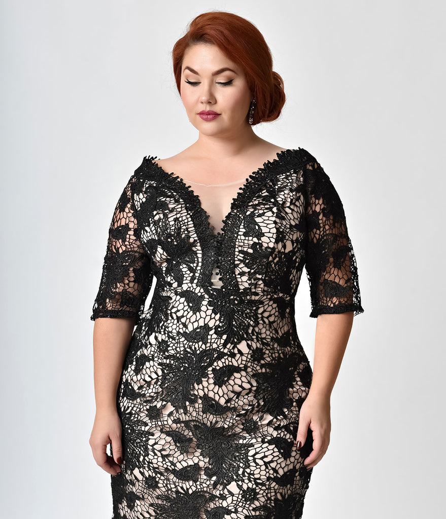 Vintage style plus size black nude lace cocktail dress unique vintage style plus size black nude lace cocktail dress ombrellifo Gallery
