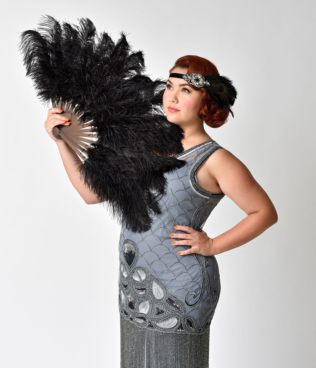 Flapper Costume: How to Dress Like a 20s Flapper Girl Vintage Style Black Ostrich Floss Feather Fan $84.00 AT vintagedancer.com