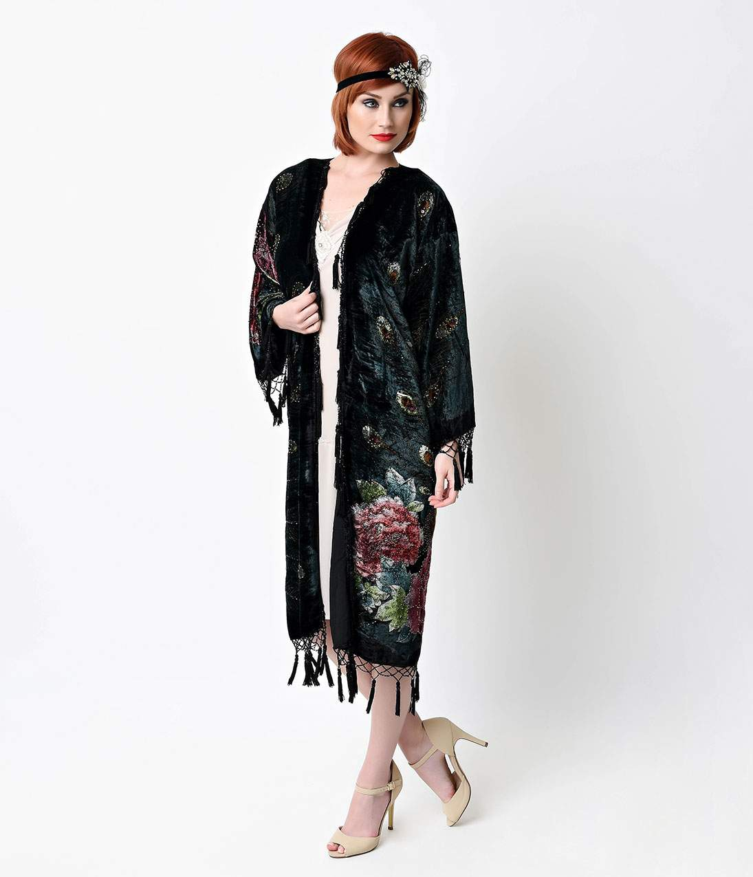 1920s Style Shawls, Wraps, Scarves Vintage Style Black Peacock Beaded Velvet Scarf Coat $165.00 AT vintagedancer.com
