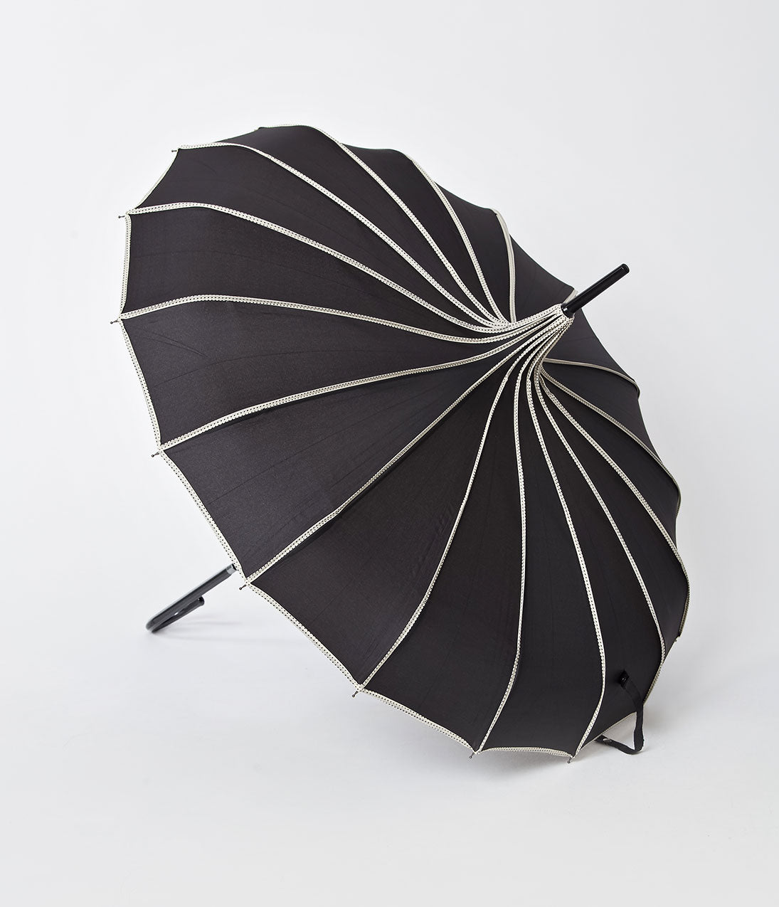 1940s Clothing Vintage Style Black  Polka Dot Tan Princess Pagoda Umbrella $36.00 AT vintagedancer.com
