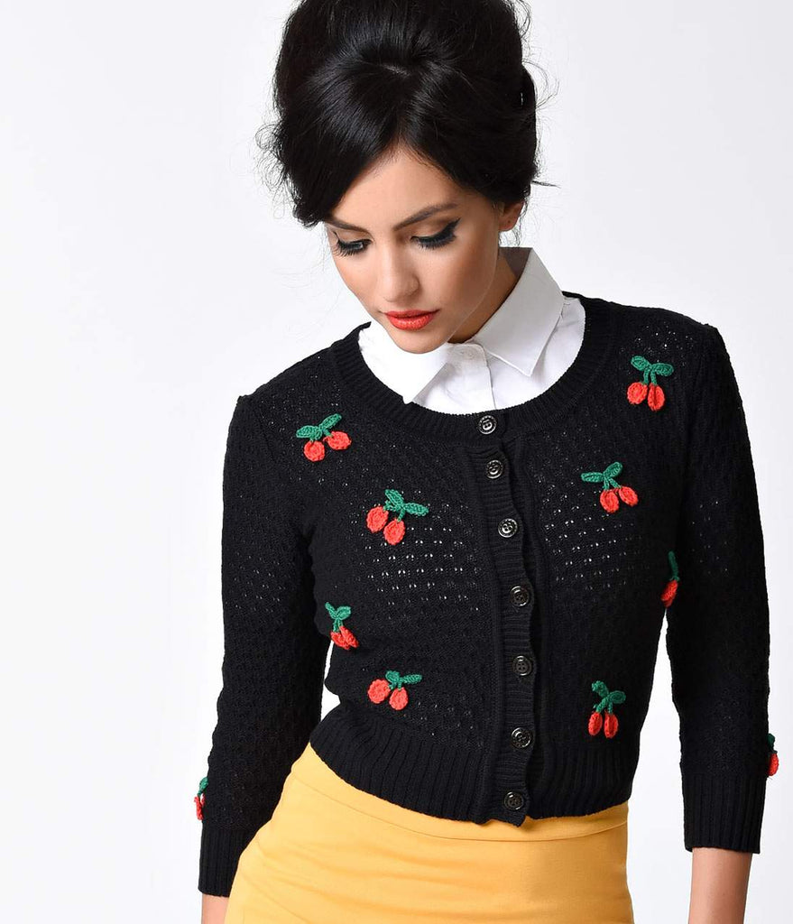 Vintage Style Black & Red Cherry Three-Quarter Sleeve Knit Crop Cardigan