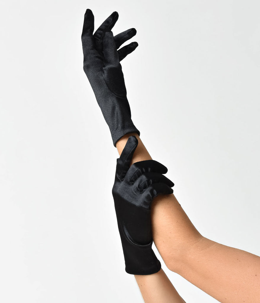 Vintage Style Black Satin Wrist Gloves