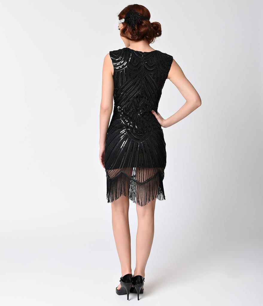 Vintage Style Black Sheer Sleeveless Sequin Flapper Dress