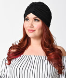 Vintage Style Black Textured Knit Knotted Turban