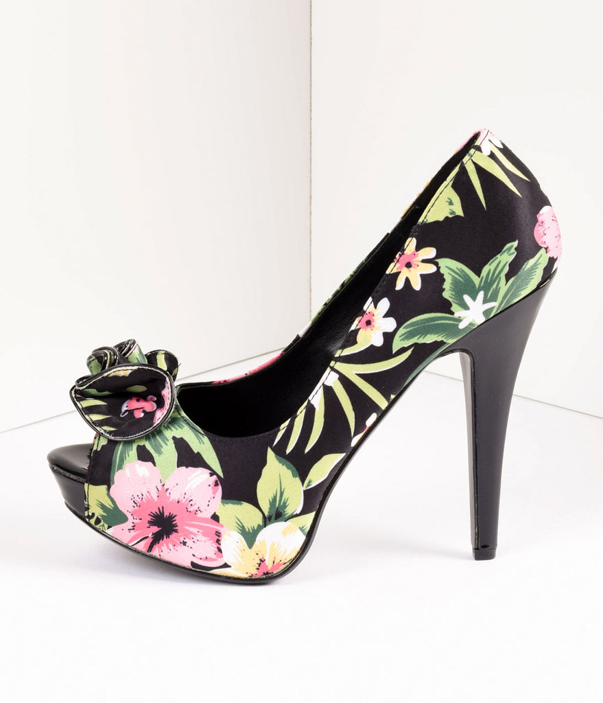 Vintage Style Black Tropical Print Peep Toe Platform Pumps