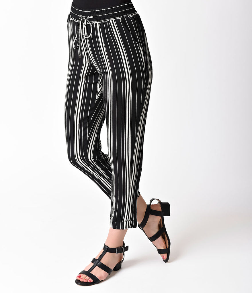 Vintage Style Black & White Stripe High Waist Capri Stretch Pants