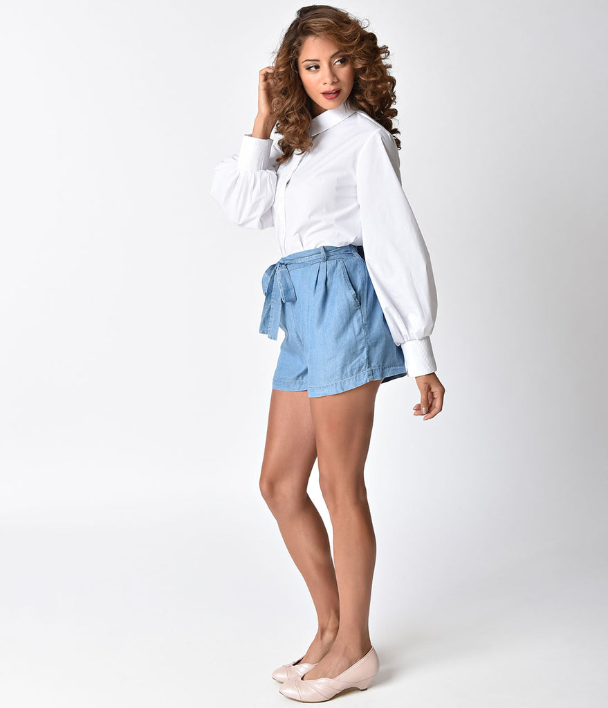 Vintage Style Blue High Waist Shorts