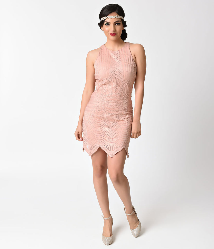 Vintage Style Blush Pink Embroidered Mesh Sleeveless Flapper Dress